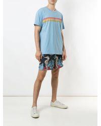 メンズ Osklen Sun ストライプ Tシャツ Blue