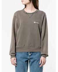 Re/done Gray Distressed Champion Sweatshirt