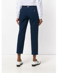 Thom Browne Blue Cropped Tailored Trousers