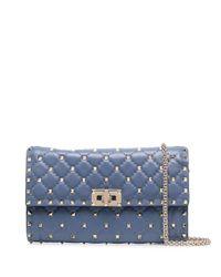 Valentino Blue Small Rockstud Crossbody Bag