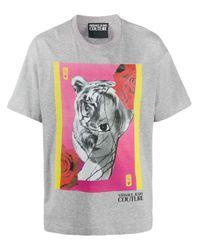 メンズ Versace Jeans アニマルプリントtシャツ Gray