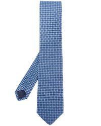 Corbata con estampado de doble Gancio Ferragamo de hombre de color Blue