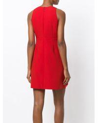 MSGM Red V-neck Embellished Dress