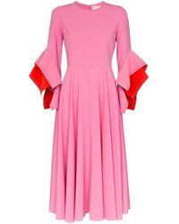 Roksanda ドレープカフス ミディドレス Pink