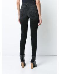 Mother Black Frayed Ankle Skinny Jeans