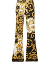 P.A.R.O.S.H. Black Baroque Print Flared Trousers