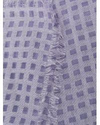 Emporio Armani チェック スカーフ Purple