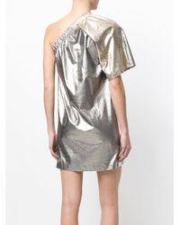 Nude - Metallic Lamé One Shoulder Mini Dress - Lyst