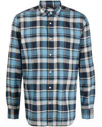 Aspesi Blue Plaid Pattern Shirt for men