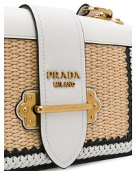 Prada - White Raffia Cahier Shoulder Bag - Lyst