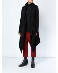 Masnada Black Asymmetric Wrap Coat
