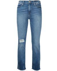 Jean crop FRAME en coloris Blue