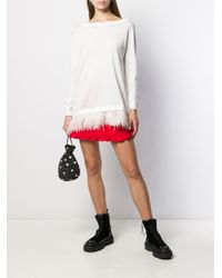 Feather-embellished boat-neck jumper di P.A.R.O.S.H. in White