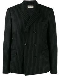 Chaqueta de franela con doble botonadura Saint Laurent de hombre de color Black