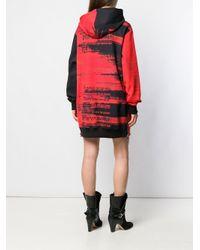 Balmain グラフィック フーデッド ドレス Red