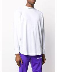 メンズ Palm Angels ロゴ ロングtシャツ White