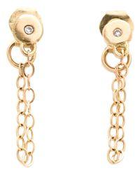 Melissa Joy Manning Metallic Chain-wrap Diamond Post Earrings
