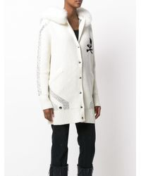 Philipp Plein | White Skull And Sequin Detail Cardi-coat | Lyst