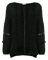 P.A.R.O.S.H. Black Ruffle And Lace Blouse