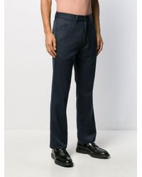 Lemaire Blue Straight Tailored Trousers for men