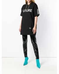 Versace Jeans Black Shiny Stretch Leggings