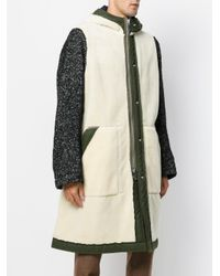 Sacai - White Herringbone Contrast Sleeve Coat for Men - Lyst