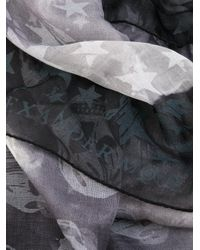 Alexander McQueen - Gray Skulls And Stars Scarf - Lyst