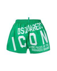 Bañador con estampado Icon DSquared² de hombre de color Green
