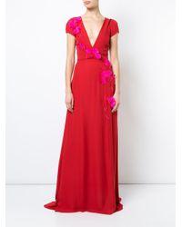 Carolina Herrera Embroidered V Neck Gown