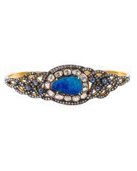 Gemco - Metallic Diamond, Opal & Sapphire Hand Bracelet - Lyst