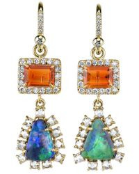 Irene Neuwirth Green Diamond Tear Drop Earrings