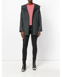 P.A.R.O.S.H. | Gray Hooded Zipped Up Coat | Lyst