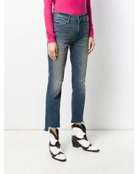 Jean slim crop Mother en coloris Blue