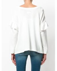 Current/Elliott - White Frill-trim Flared Top - Lyst
