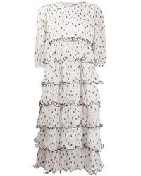 Ganni ポルカドット プリーツドレス White