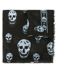 Alexander McQueen Black Skull Scarf for men