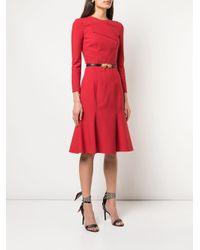 Oscar de la Renta Red Kleid mit gefaltetem Kragen