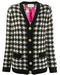 Cardigan à motif pied-de-poule Gucci en coloris Black