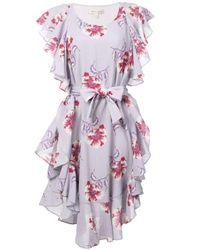 Morgan Lane Purple 'Delphine' Kleid mit Volants