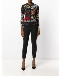 Alexander McQueen Black Lace Trim Skinny Trousers