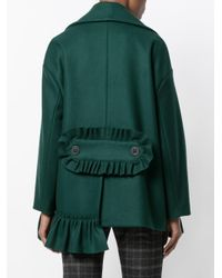 Erika Cavallini Semi Couture - Green Pocketed Double Breasted Short Coat - Lyst