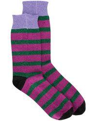 LaDoubleJ Pink Gestreifte Socken mit Glitter