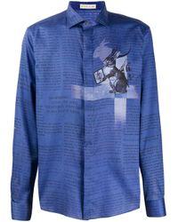 Camisa con estampado de periódico Etro de hombre de color Blue