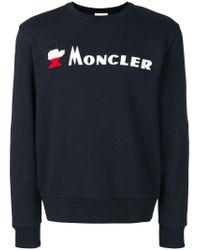 Moncler Black Logo Embroidered Sweatshirt for men