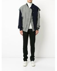 Moohong - Gray Asymmetric Bomber Jacket for Men - Lyst