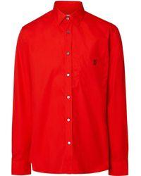 Camicia con monogramma di Burberry in Red da Uomo