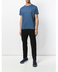 Majestic Filatures Blue Cropped Casual T-shirt for men