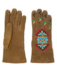 Etro Brown Embellished Gloves