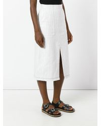 T By Alexander Wang - White Striped Front Slit Skirt - Lyst