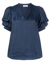 Zadig & Voltaire Blue V-neck Loose Fit Top